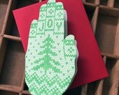 letterpress JOY knit hand shaped card