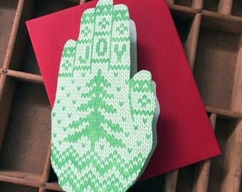 letterpress JOY knit hand shaped card