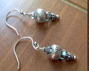Karen Hills Sterling Silver and Swarovski crystal Earrings