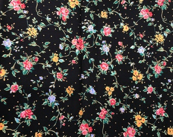 1 Yard of BLack with Yellow and Pink Floral Print Cotton Fabric from Peter Pan Fabrics