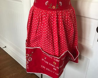 Vintage Ladies' Red and White Polka Dotted Half Apron with Hand Embroidery Daisies
