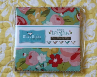 "SALE 5"" inch squares HELLO GORGEOUS charm pack fabric by Riley Blake by My Mind's Eye - Jen Allyson"