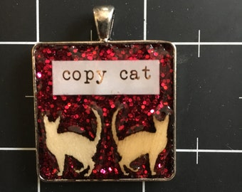 Copy Cat Pendant, Two Identical Kitty Veneers, Back to Back, 50% goes to the current focus animal charity