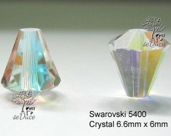 DESTASH Swarovski 5400 Clear Crystal AB Faceted Cone Beads