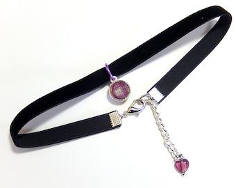 Purple Choker Necklace, Black Velvet Choker, Glass Pendant Necklace, 90s Jewelry, Grunge, Retro