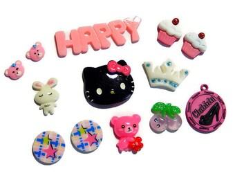 Kawaii Cabochon Mix, Deco Decoden DIY Supplies, Cupcake Cabochon, Kitty Cabochons