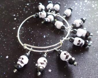 13 Skulls Expandable Stackable Bangle Charm Bracelet
