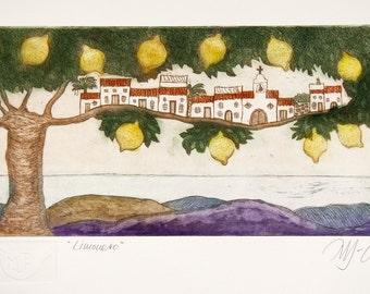 lemon art print, mediterranean art print, lemon tree art, landscape art, Andalusian art print, lemon wall art, fruit tree art, etching