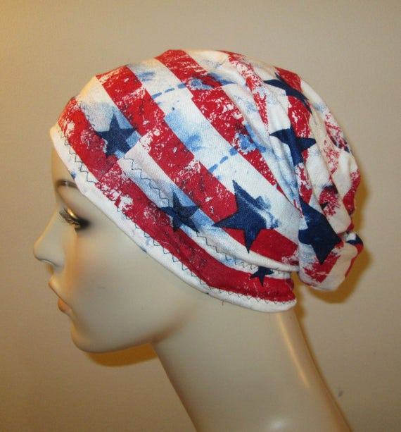 Starry Red, White Blue Slouch Chemo Hat Chemo Cap, Cancer Hat, Alopecia, Modest Hat,
