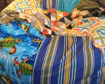 NEW Turtle and Tropical Prints Beach Bean Bag Chair  Unfilled with Cover and Liner
