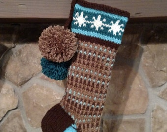Old Fashioned Hand Knit Christmas Stocking Earth Brown & Sky Blue Vertical Stripe Snowflake Chain Border Santa's Stocking Works