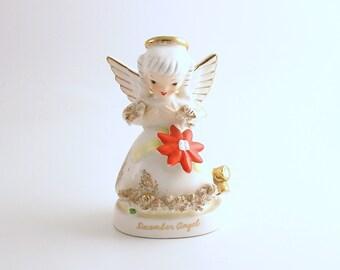 Vintage Angel Figurine December Angel Poinsettia Napco Christmas Decoration
