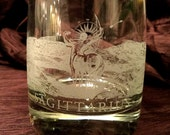 Etched Sagittarius Glass with weighted bottom (double rocks tumbler water)