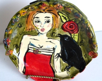 bowl ceramics and pottery girl and crow green red black unique bowl decorative bowl figurative