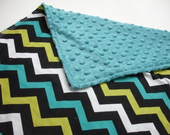 Chevron in Lagoon with Teal Minky Baby Burp Cloth 14 1/2 x 20 READY TO SHIP