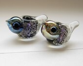 2 birds matched earring pair artisan lampwork glass beads purple chrinkle dichroic handmade SRA