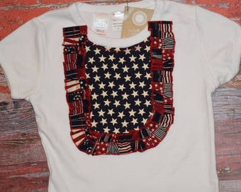 AMERICANA Girls White Bib Style Tee  size 4  July 4 RED WhITe & BLUE  patriotic Ready to Ship!