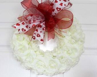 Valentine Wreath for front door, Valentine white Rose Wreath, Valentine Decoration, Spring Wreath, Mother's Day, Wedding Wreath, wreathe
