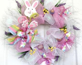 Easter Rabbit Wreath, Easter bunny Wreath, Spring Wreaths, Easter Decoration, Front door Wreaths, wreath for front door, wreathe, deco mesh