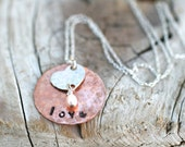 Copper and Sterling Silver Heart Metal Stamped Pendant Necklace, Mixed Metal Personalized Pendant, Love Necklace, Handmade Stamped Pendant