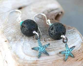 Aqua Apatite Gemstone and Black Lava Bead, Starfish Charm Earrings, Black and Aqua Blue Gemstone Jewelry, Patina Starfish Earrings