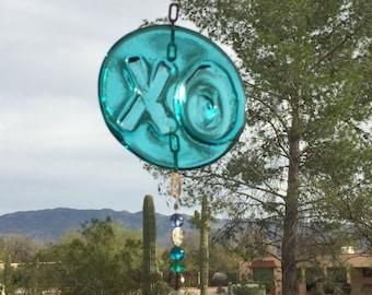 XO Love Suncatcher Blue Glass