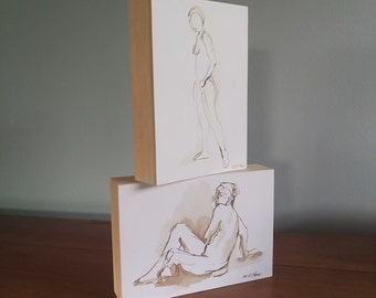 Original Figure Drawing -  Thea Turning  - Ink on Paper - by Michelle Arnold Paine