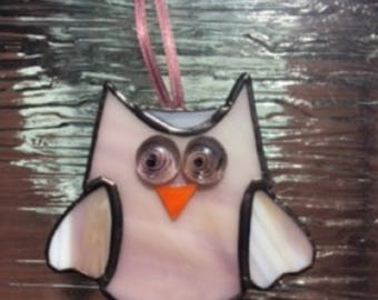 MINI OWL Stained glass ornament.