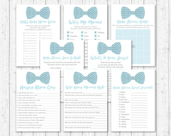 Cute Bow Tie Baby Shower Games Package / Bow Tie Baby Shower / Chevron Pattern / Blue & Silver / 8 Printable Games / INSTANT DOWNLOAD A153
