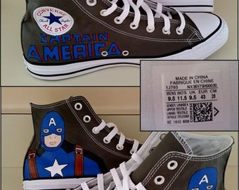 Clearance, Captain America, Avengers, Comics, Geek, Converse, Custom Painted, Chucks, Size Mens 9.5, Shoes Included