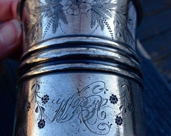 Victorian Eastlake or Aesthetic Style Pairpoint Engraved Silver Cup