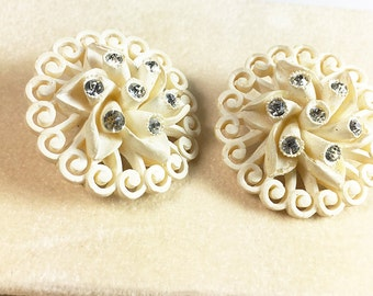 Carved White Celluloid Fancy Rhinestone Vintage Clip Earrings