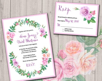 Watercolor wedding invitation set, watercolor pink roses wreath, 25