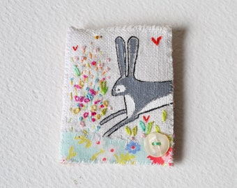 BROOCH pin Textile - painted and embroidered Hare in the flowers