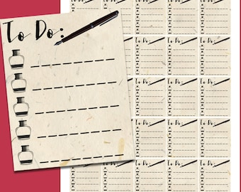 Parchment and Ink To Do List Printable Planner Stickers