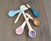 Your Choice, One Handmade Ceramic Spoon for Spices or Salt, Small Pottery Spoon, Salt Spoon