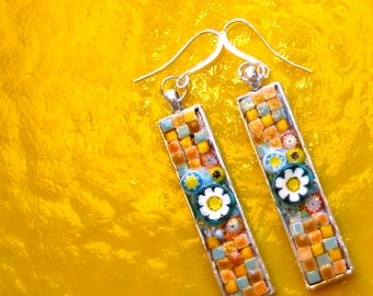 Earrings. Mosaic Earrings. Pierced Earrings. Mosaic Pierced Earrings. Floral Earrings. Geometric Earrings. Floral + Geometric Earrings. Fun!