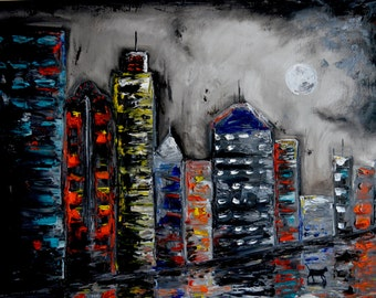 A Late Night Walk, Original Oil Painting, City, buildings, reflection, thick paint, texture, urban, cityscape, cat, full moon