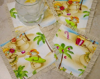 Beach Christmas Coasters, Tropical Christmas Coasters, Burlap Quilted Fabric Coasters, Hostess Gift, Tropical Christmas Decor