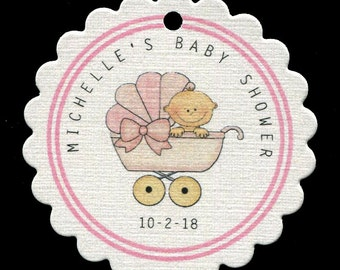Personalized Baby Shower Tags - Baby Boy Shower - Favor Tags - Baby Girl Tags - Pink - Baby Buggy