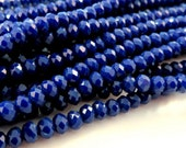 75 Cobalt Glass Beads Opaque Dark Blue Faceted Rondelle Abacus 4x3mm - 75 pc - G6063-CB75