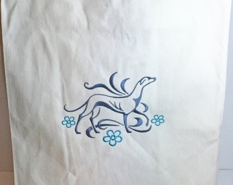 DragonEmbroidery's Graceful Greyhound Embroidered on a Natural color Grocery Tote Bag