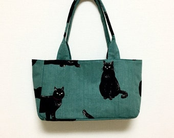 Fabric Shoulder Bag / Tote Bag --- Blue Green