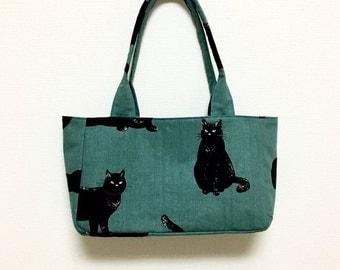 Fabric Shoulder Bag / Tote Bag --- Blue Green