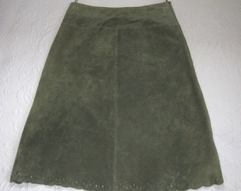 green suede skirt . leather skirt . A line skirt