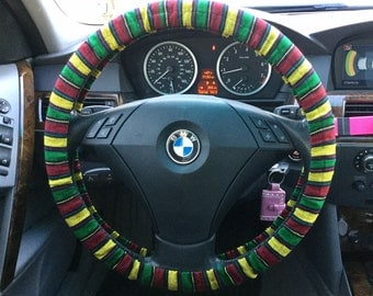 Rasta Woven Fabric Steering Wheel Cover