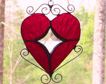 Stained Glass Heart Suncatcher - Red with Bevels Star Center