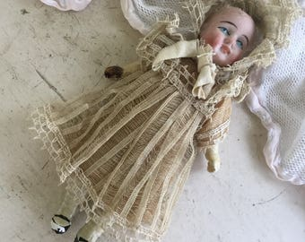 Antique Composition German Girl Doll for Doll Under Clothes Lace Dress
