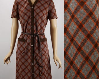Vintage 1960s Dress Brown and Tangerine Argyle Shift by Route One B40 W36