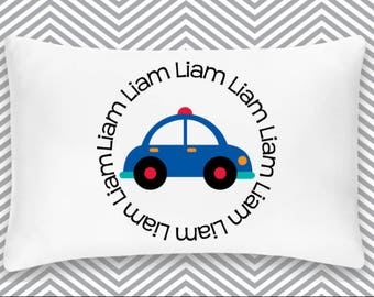 Personalized Police Car Pillowcase Home Decor Bedding Bed Transportation Nursery